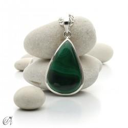 Malachite drop, sterling silver pendant