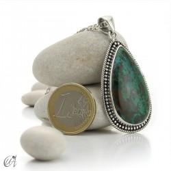 Azurite pendant in silver, drop - model 2