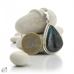 Azurite pendant in silver, drop - model 1