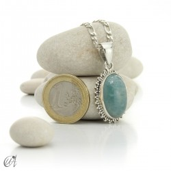 Hindu style silver - aquamarine pendant - model 1