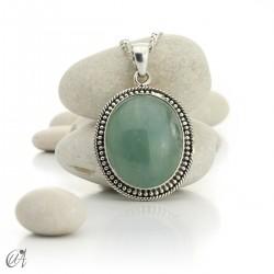 Hindu style silver - aquamarine pendant