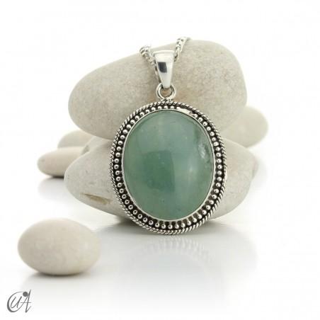 Hindu style silver - aquamarine pendant - model 3