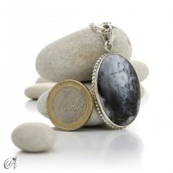 Dendritic opal pendant in sterling silver, model 1