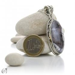 Dendritic opal pendant in sterling silver, model 2