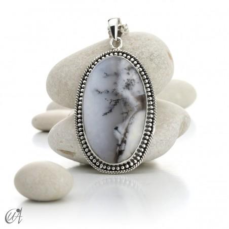Dendritic opal pendant in sterling silver, model 3