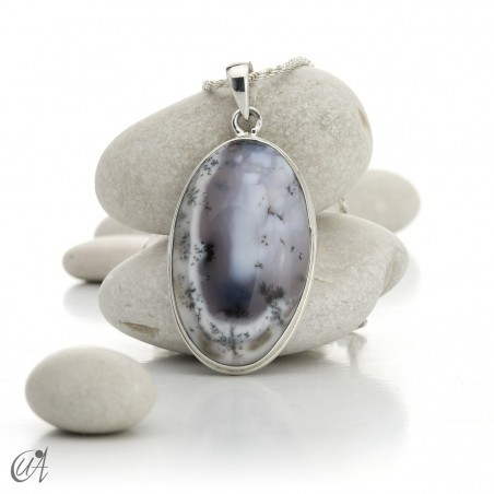 Oval pendant in 925 silver and dendritic opal, model 2