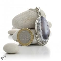 Colgante ovalado en plata 925 y ópalo dendrítico, modelo 2