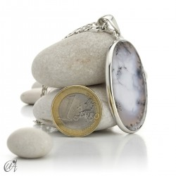 Oval pendant in 925 silver and dendritic opal, model 3