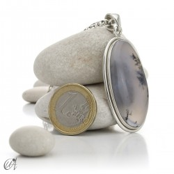 Colgante ovalado en plata 925 y ópalo dendrítico, modelo 5