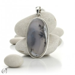 Oval pendant in 925 silver and dendritic opal, model 5