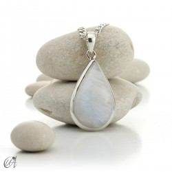 Moonstone teardrop pendant in sterling silver - model 1