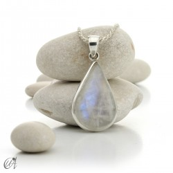 Moonstone teardrop pendant in sterling silver - model 2