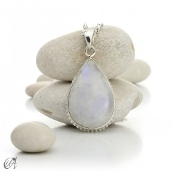Moonstone teardrop pendant in sterling silver - model 3