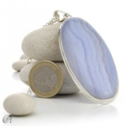 Oval chalcedony and sterling silver pendant model 5
