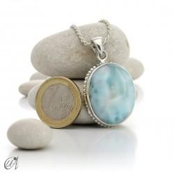 Big oval larimar pendant in sterling silver - model 1