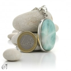 Big oval larimar pendant in sterling silver - model 4