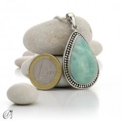 Vintage sterling silver - larimar pendant - model 1