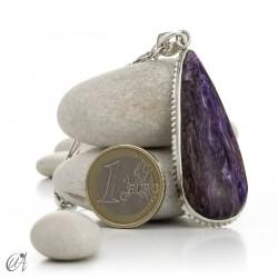 Charoite, gothic silver teardrop pendant - model 2