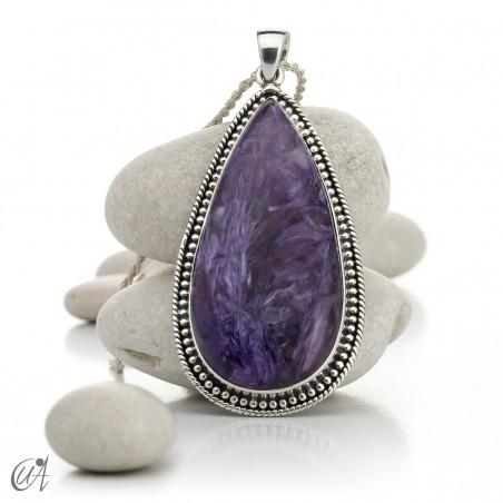 Charoite, gothic silver teardrop pendant - model 3