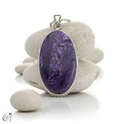 Vintage oval charoite and sterling silver pendant