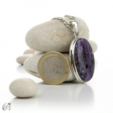 Oval charoite pendant in 925 silver- model 1
