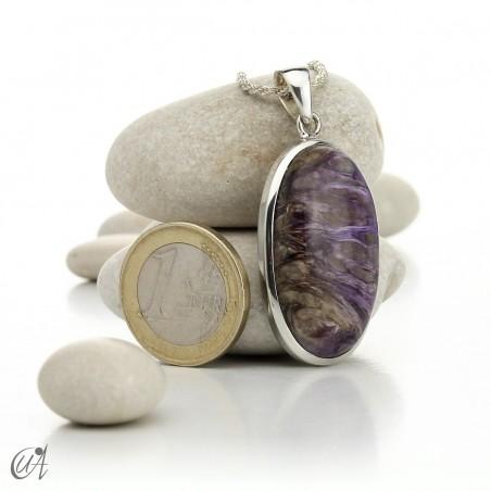 Oval charoite pendant in 925 silver- model 3