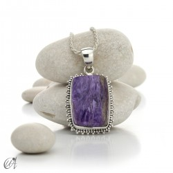 Rectangular silver and charoite pendant, model 1