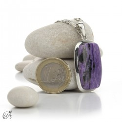 Rectangular silver and charoite pendant, model 2