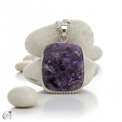 Rectangular silver and charoite pendant, model 3
