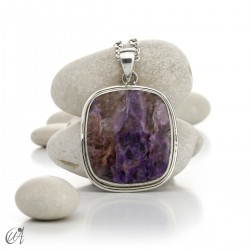 Rectangular silver and charoite pendant