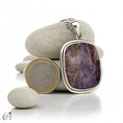 Rectangular silver and charoite pendant, model 4