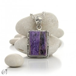 Rectangular silver and charoite pendant, model 5