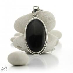 Gold obsidian in sterling silver, oval pendant model 3