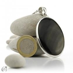 Gold obsidian in sterling silver, oval pendant model 5