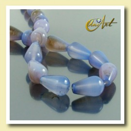 Blue Agate beads in tear shape 16 x 10 mm