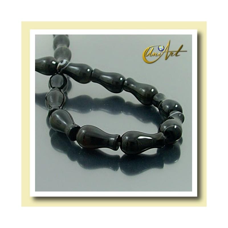 Black Agate Beads in bottle shape 16 mm x 10 mm