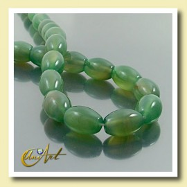 Green Agate beads in olive shape  14x10mm
