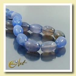 Hilo de Ágata Azul talla aceituna  14x10mm