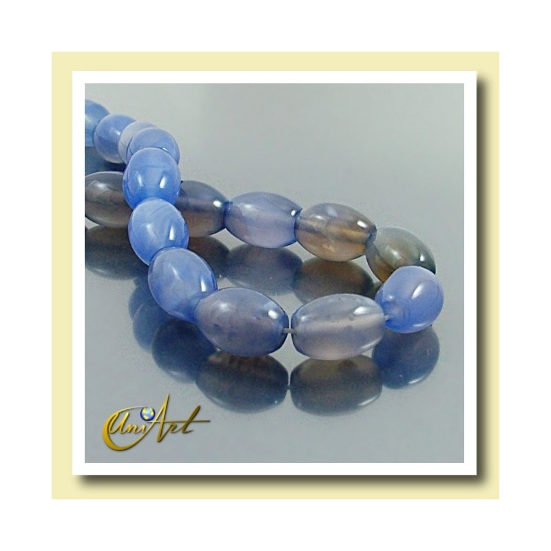 Blue Agate beads in olive shape  14x10mm