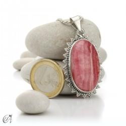 Rhodochrosite oval pendant - 925 silver - model 3