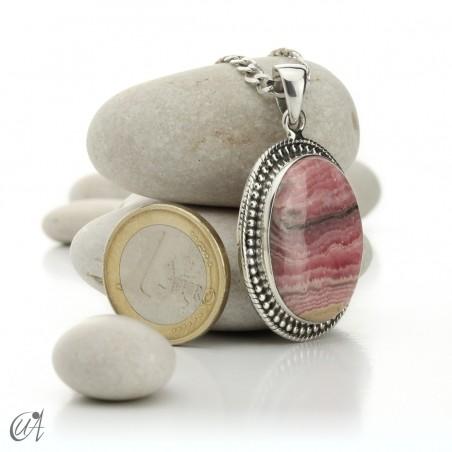 Rhodochrosite oval pendant - 925 silver - model 4