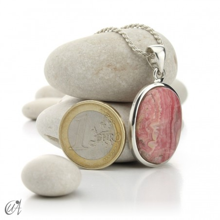 Rhodochrosite and sterling silver oval pendant model 2