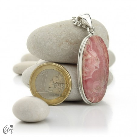 Rhodochrosite and sterling silver oval pendant model 3