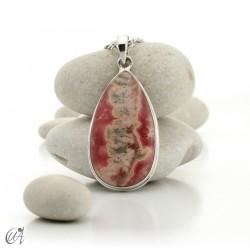 Sterling silver teardrop pendant with rhodochrosite