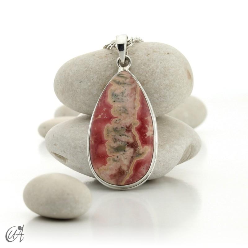 Sterling silver teardrop pendant with rhodochrosite - model 3