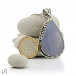 Gothic blue chalcedony and sterling silver pendant  - model 4