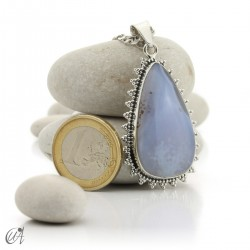 Gothic blue chalcedony and sterling silver pendant  - model 3
