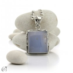 Gothic blue chalcedony and sterling silver pendant