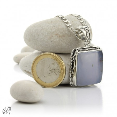 Gothic blue chalcedony and sterling silver pendant  - model 2