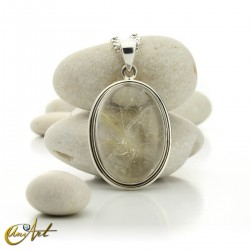 Pendant of quartz with rutile and sterling silver - oval , model 4